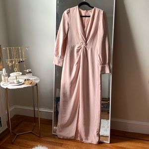 Baby pink long sleeve maxi dress